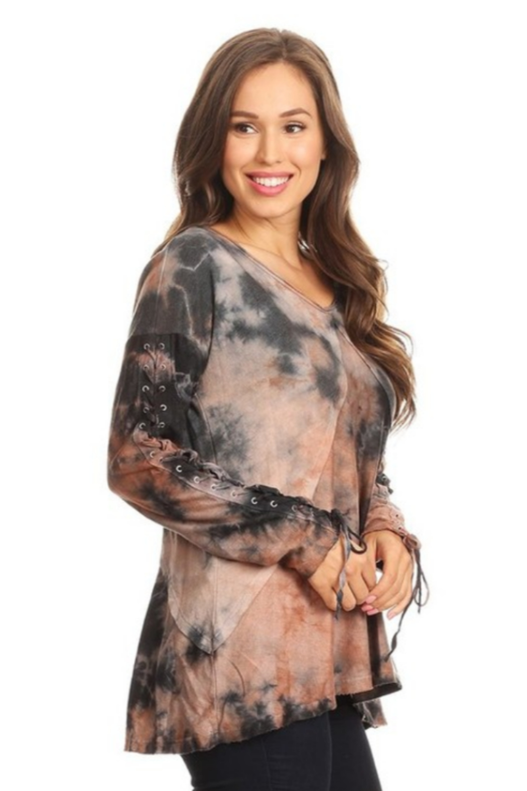 T Party Tie-Dyed Lace Up Tunic - Main Image