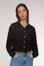 Dex Tie Front All Over Crochet Shirt - Product Mini Image
