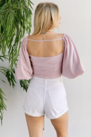hers and mine Tie Front Ballon Sleeve Top - Back cropped