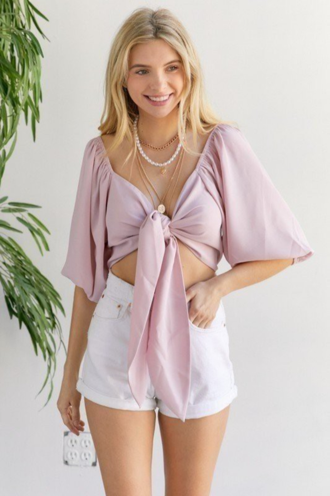 hers and mine Tie Front Ballon Sleeve Top - Front Cropped Image