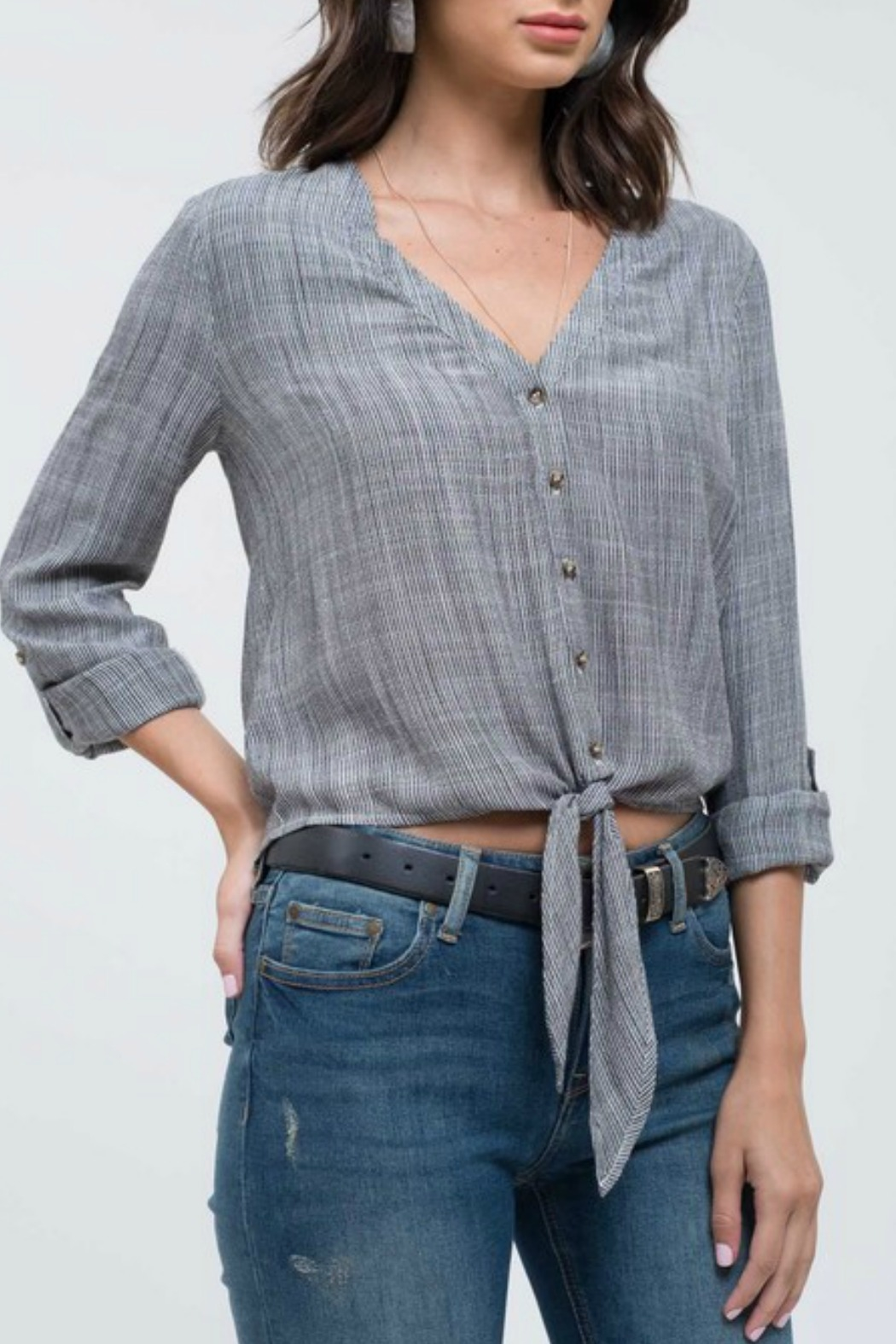 Blu Pepper Tie Front Blouse - Front Cropped Image