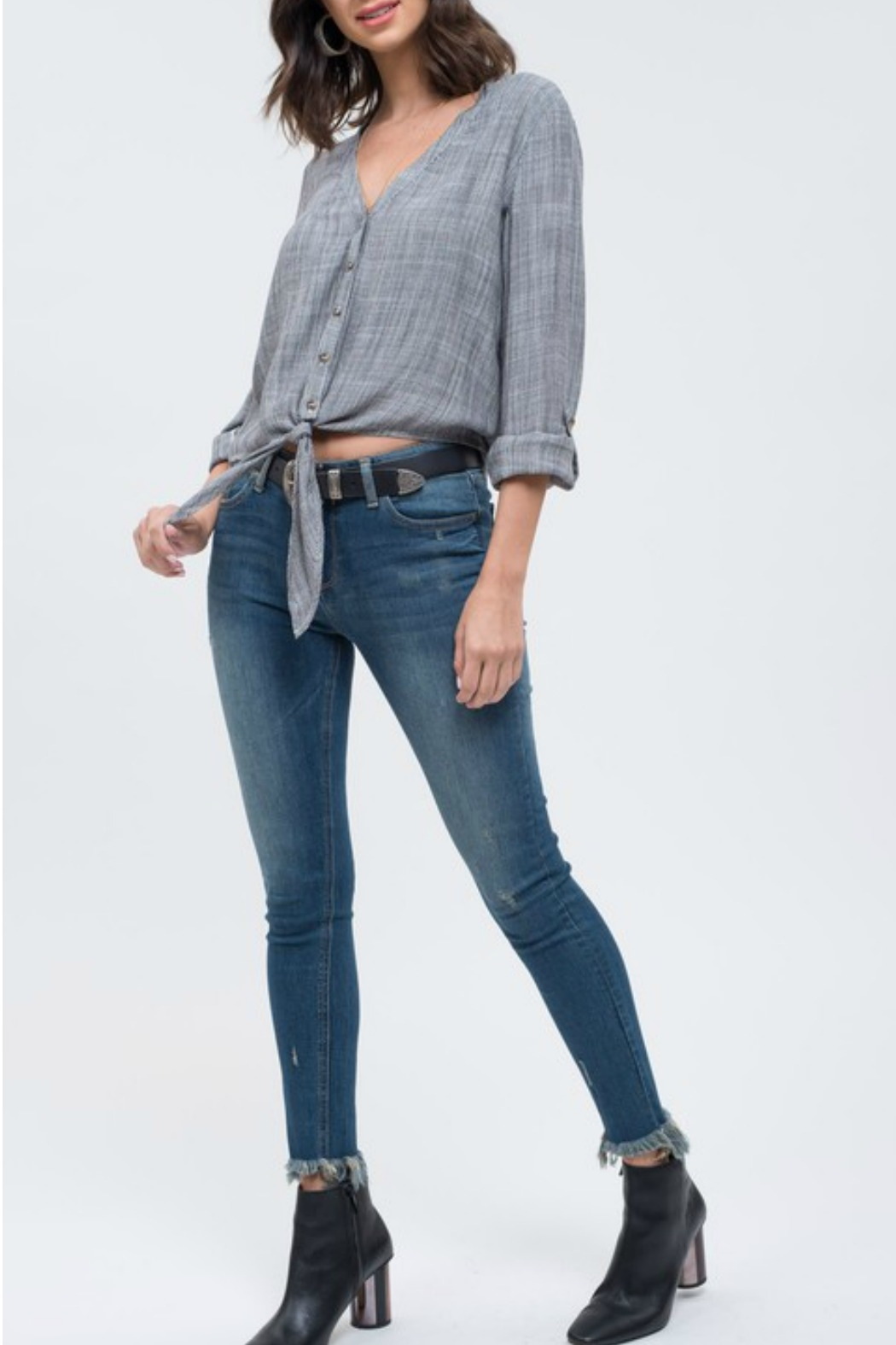 Blu Pepper Tie Front Blouse - Side Cropped Image