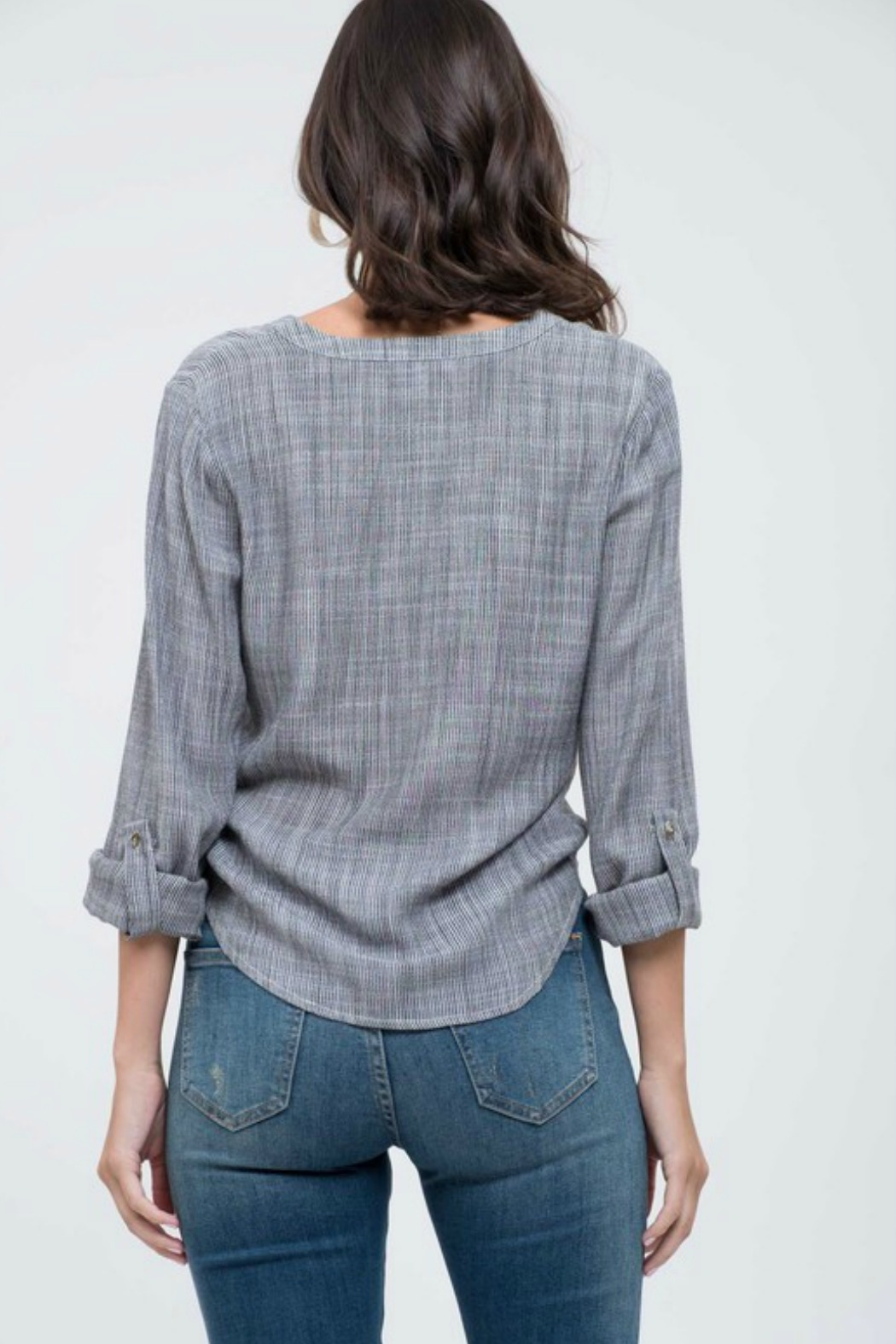 Blu Pepper Tie Front Blouse - Front Full Image