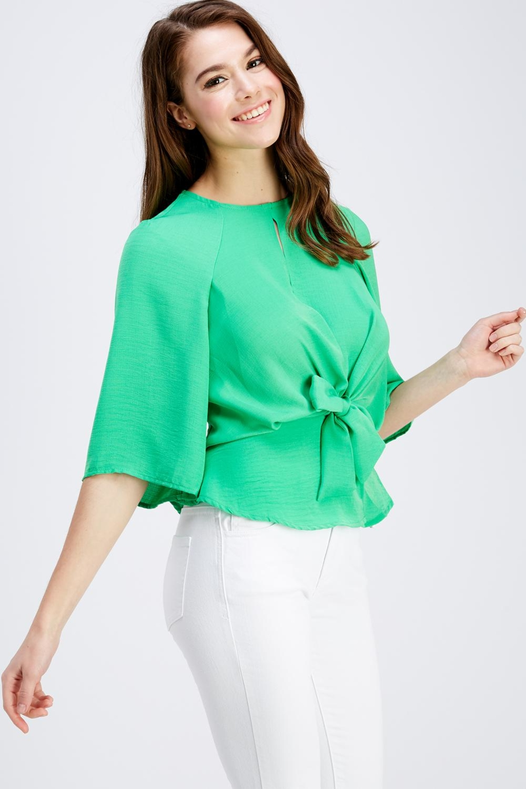 Love Encounter Tie Front Blouse - Side Cropped Image
