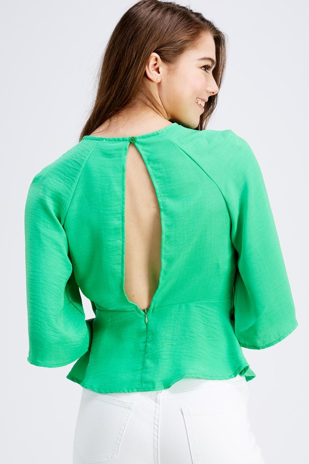 Love Encounter Tie Front Blouse - Back Cropped Image