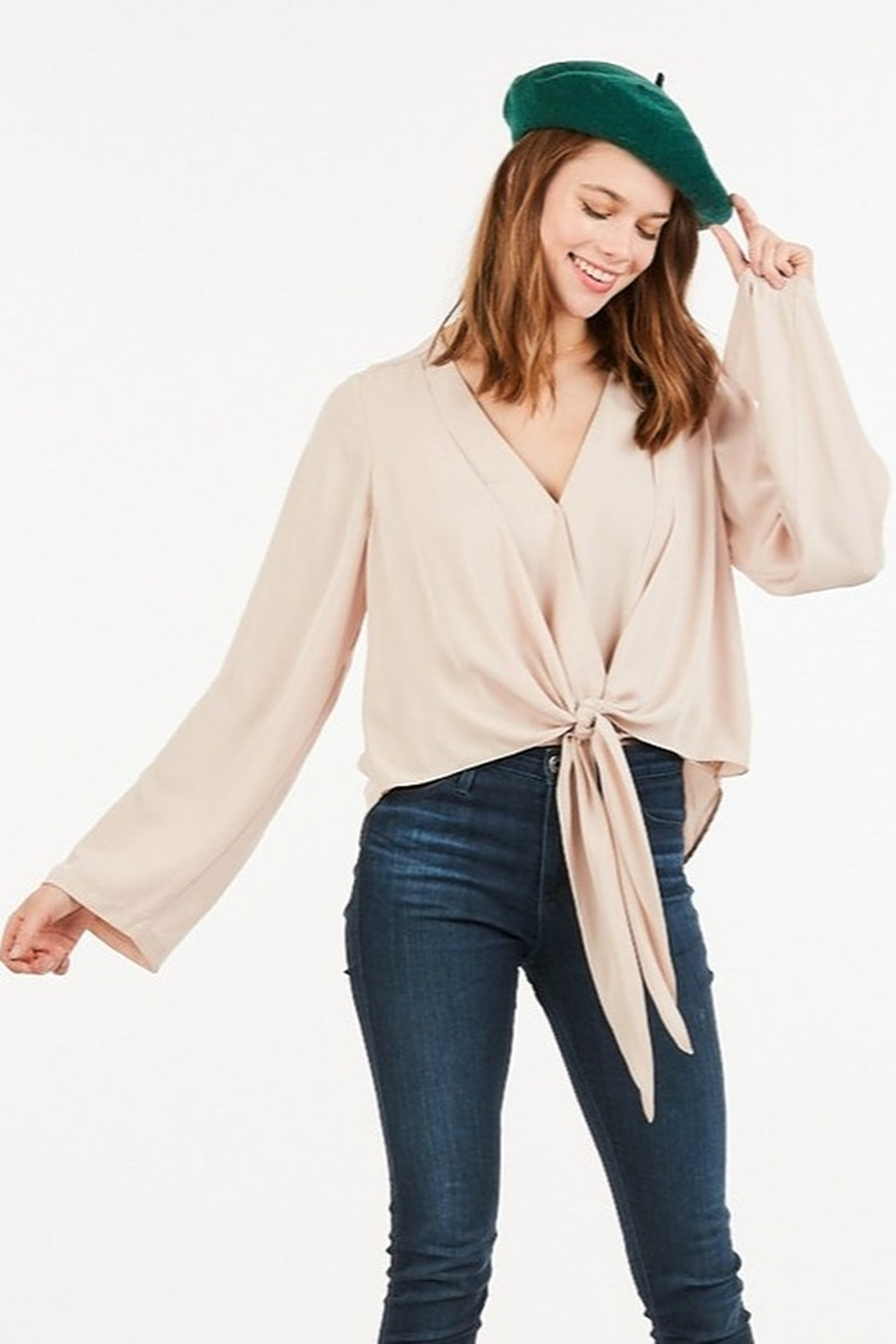 Very J  Tie Front Blouse - Front Cropped Image