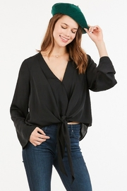 Very J  Tie Front Blouse - Front cropped