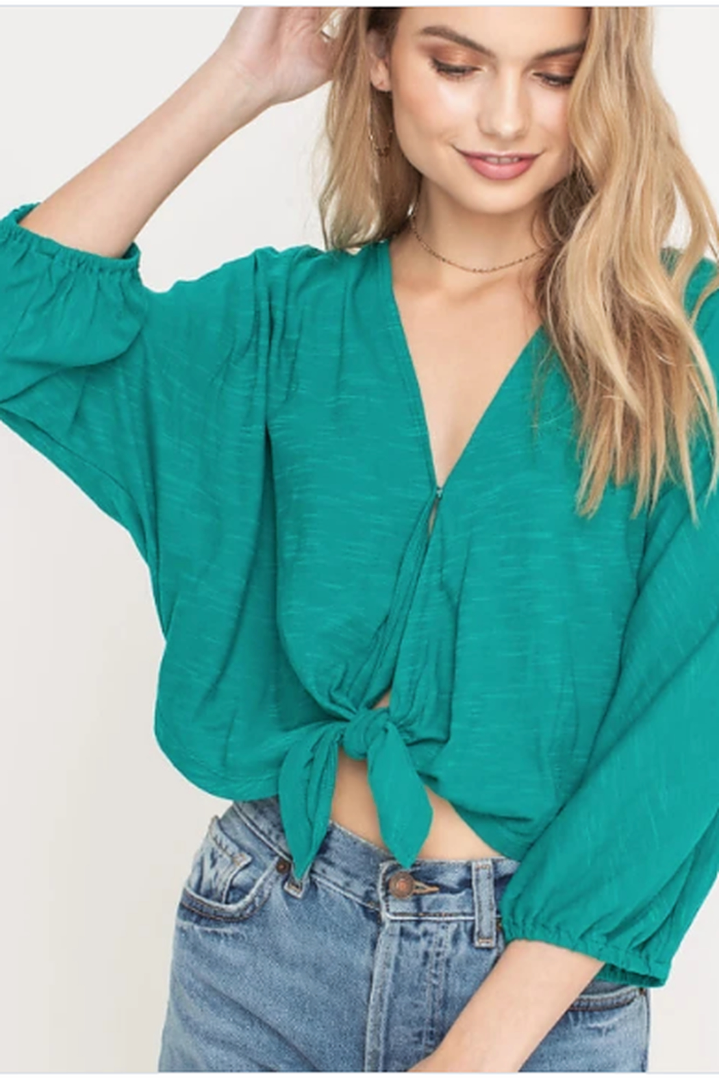 Lush Clothing  Tie front blouse - Main Image