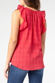 Liverpool Tie Front Blouse with Cascading Ruffle - Side cropped
