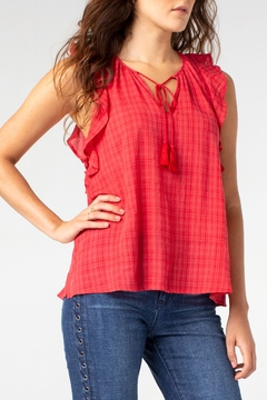 Liverpool Tie Front Blouse with Cascading Ruffle - Product List Image
