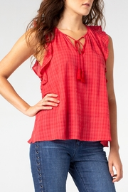 Liverpool Tie Front Blouse with Cascading Ruffle - Product Mini Image