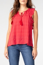 Liverpool Tie Front Blouse with Cascading Ruffle - Front full body