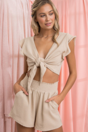 Papermoon Tie Front Crop Top - Product Mini Image