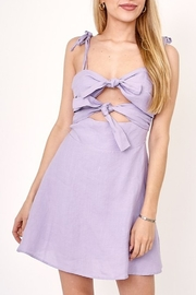Olivaceous Tie Front Cutout Dress - Product Mini Image