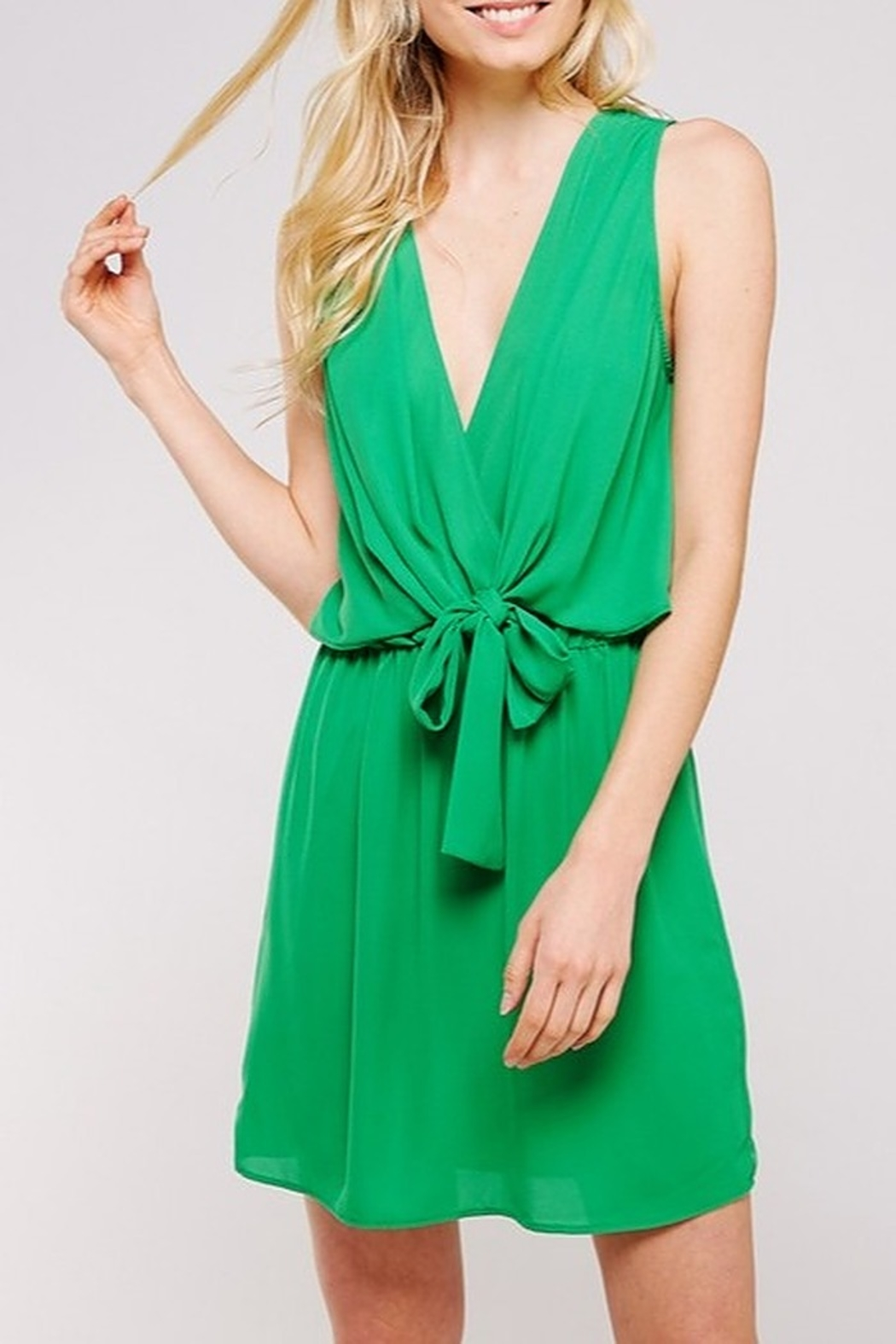 Caramela Tie Front Dress - Front Cropped Image