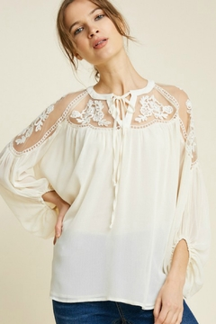 Hayden Tie Front Embroidered Peasant Top - Product List Image