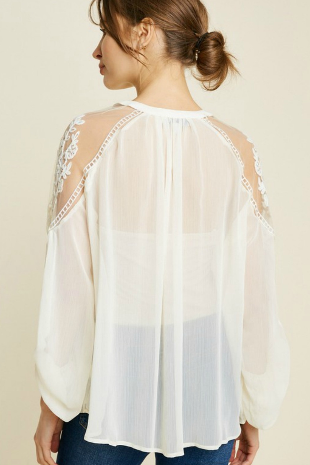 Hayden Tie Front Embroidered Peasant Top - Front Full Image