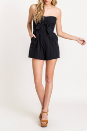 Lush  Tie Front Eyelet Romper - Front cropped
