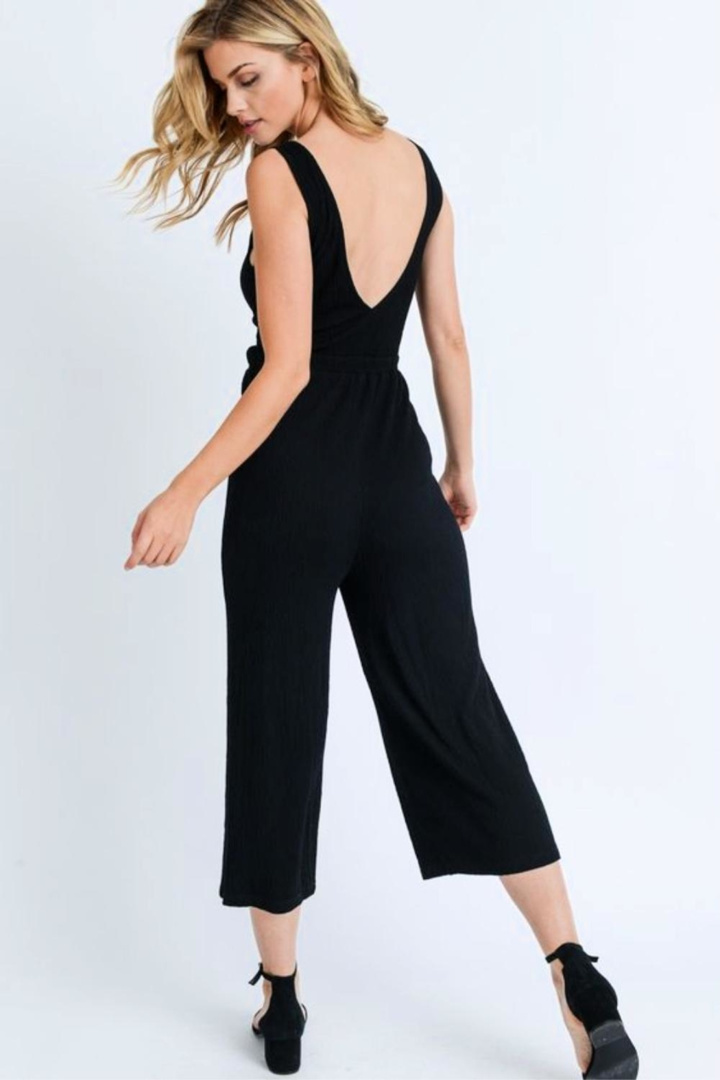Love Tree Tie Front Jumpsuit - Front Full Image