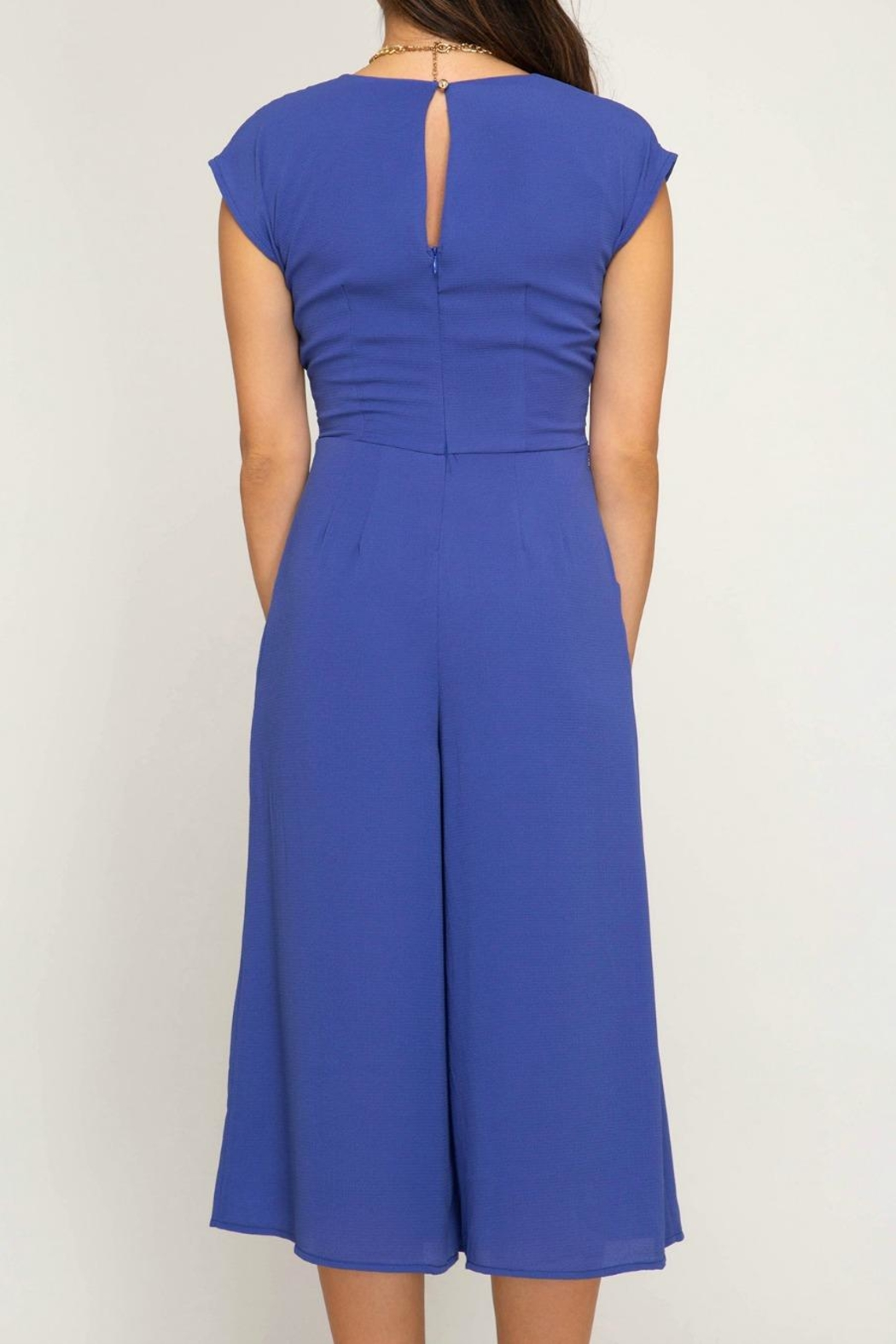 She + Sky Tie Front Jumpsuit - Back Cropped Image