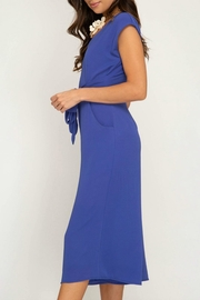 She + Sky Tie Front Jumpsuit - Front full body