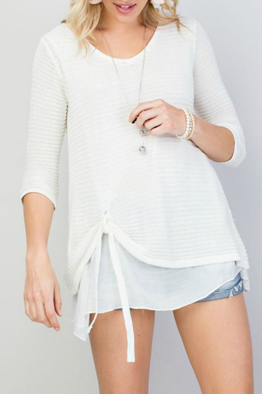 Main Strip Tie-Front Oversized Sweater - Main Image