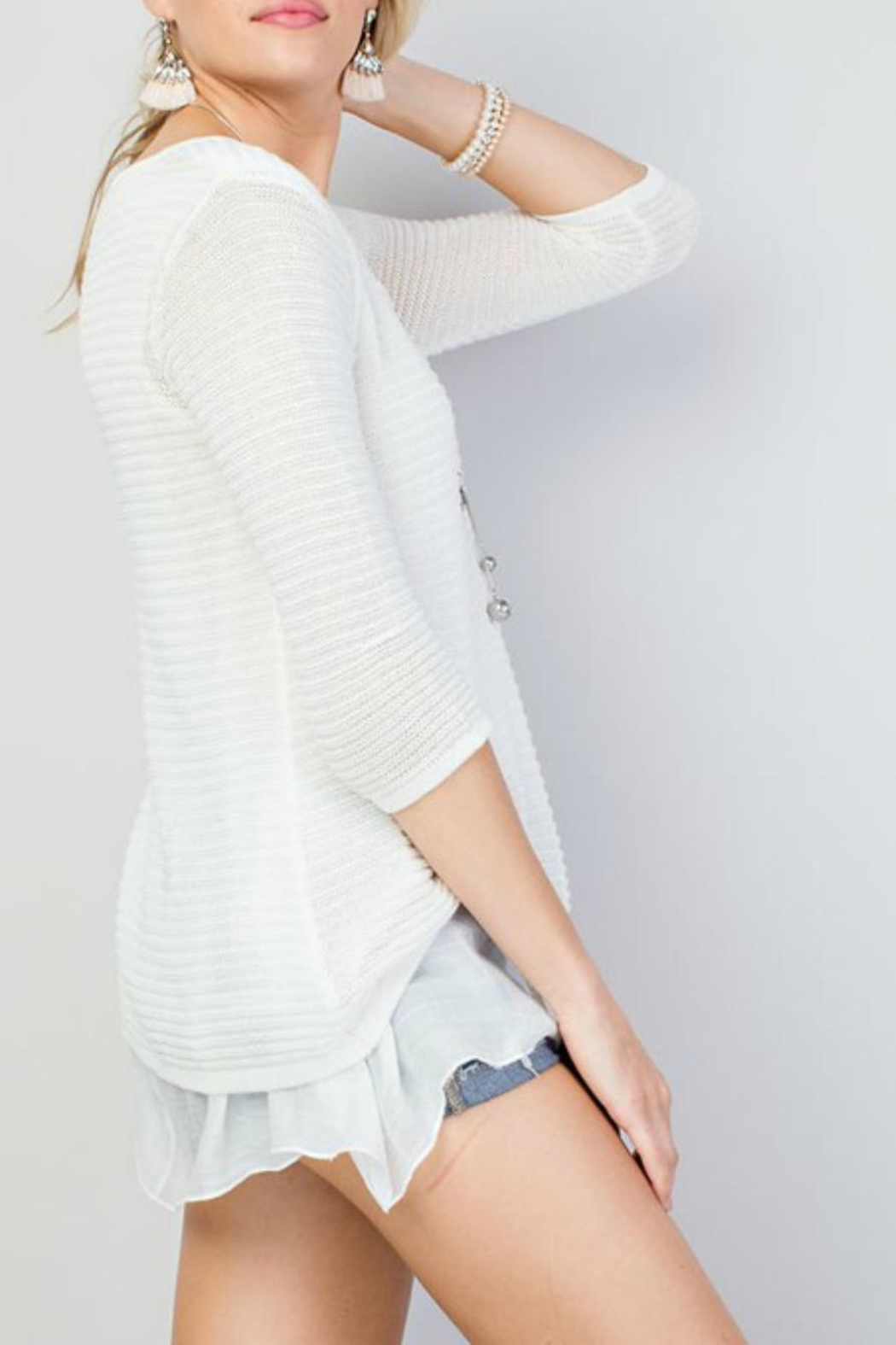 Main Strip Tie-Front Oversized Sweater - Front Full Image