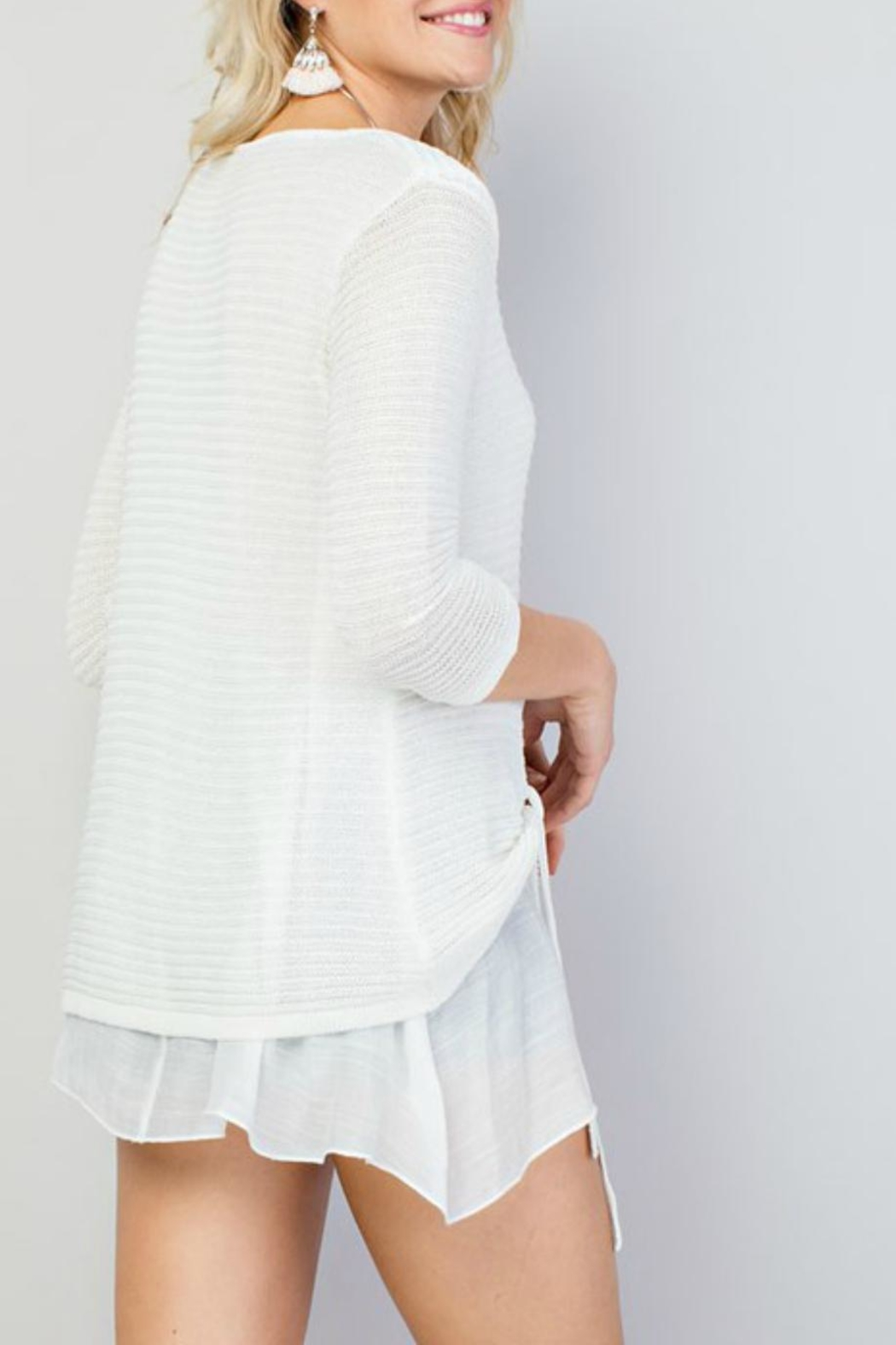 Main Strip Tie-Front Oversized Sweater - Side Cropped Image