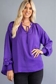 Glam Tie Front Peasant Blouse - Product Mini Image