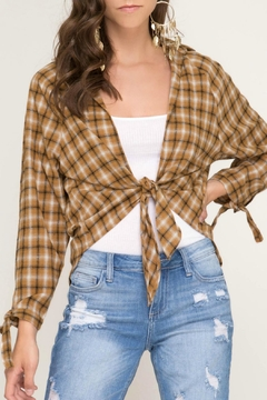 She + Sky Tie-Front Plaid Top - Product List Image
