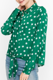 Lush Clothing  Tie Front Printed Blouse - Product Mini Image