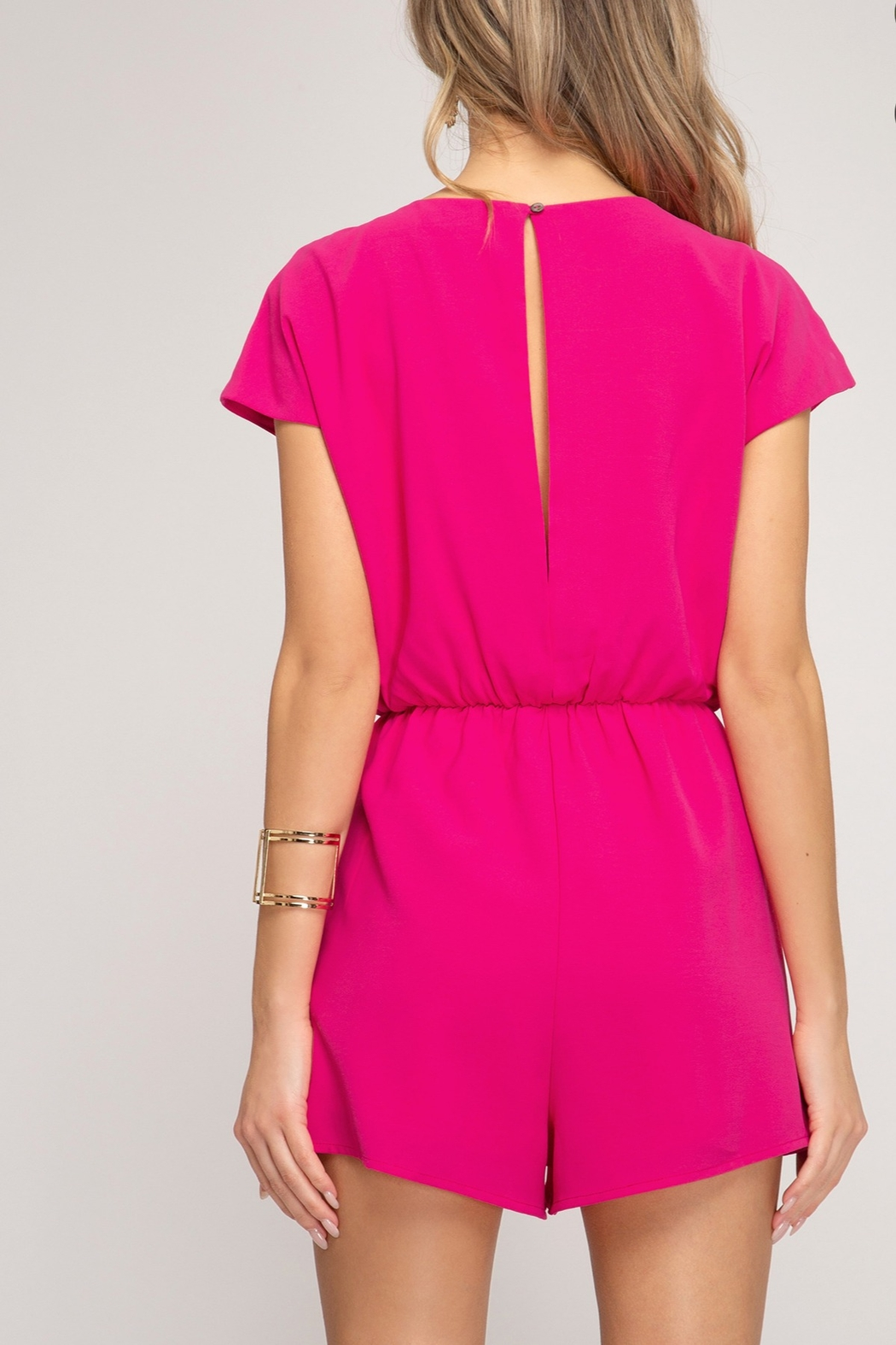 She + Sky Tie Front Romper - Side Cropped Image