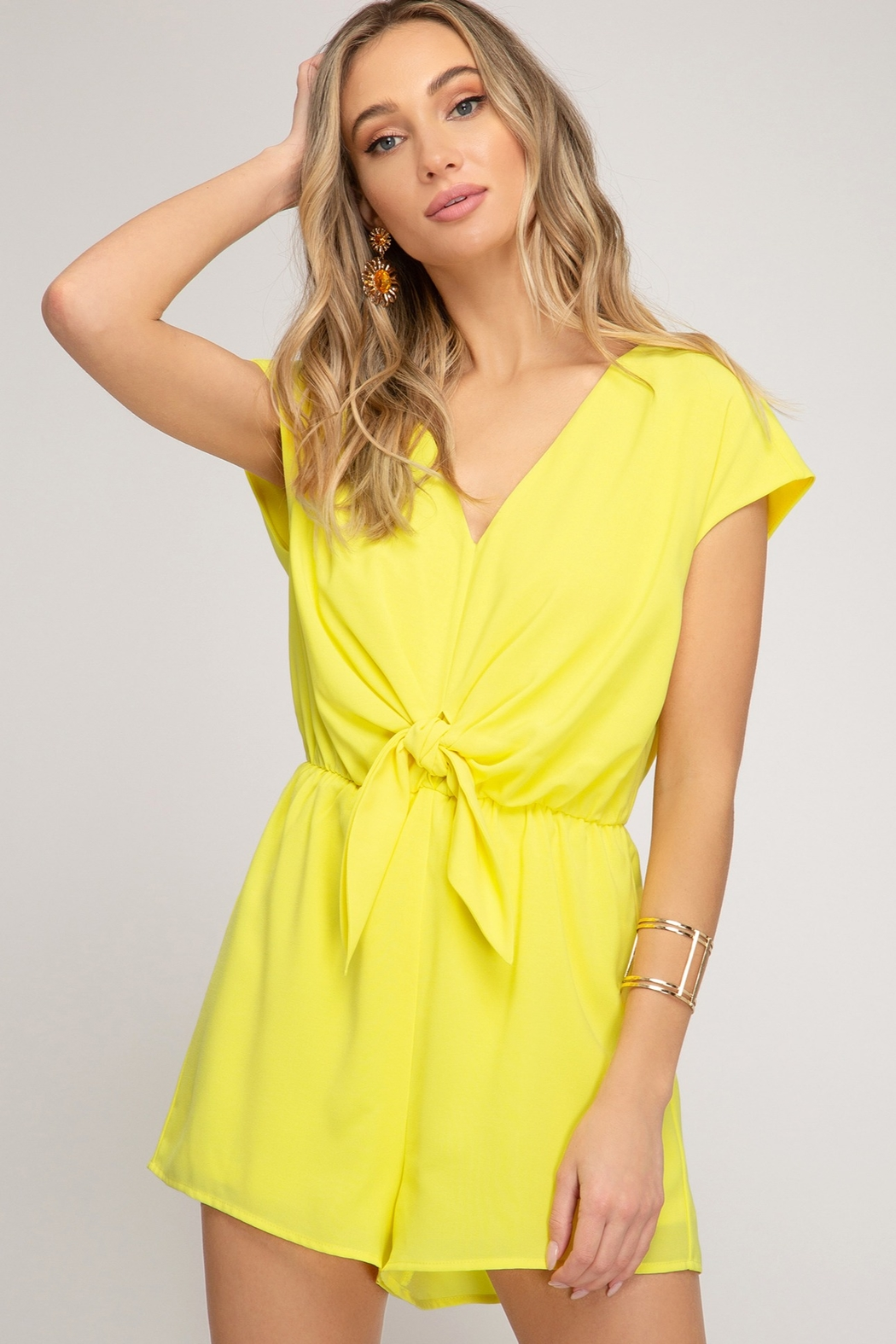 She + Sky Tie Front Romper - Front Cropped Image