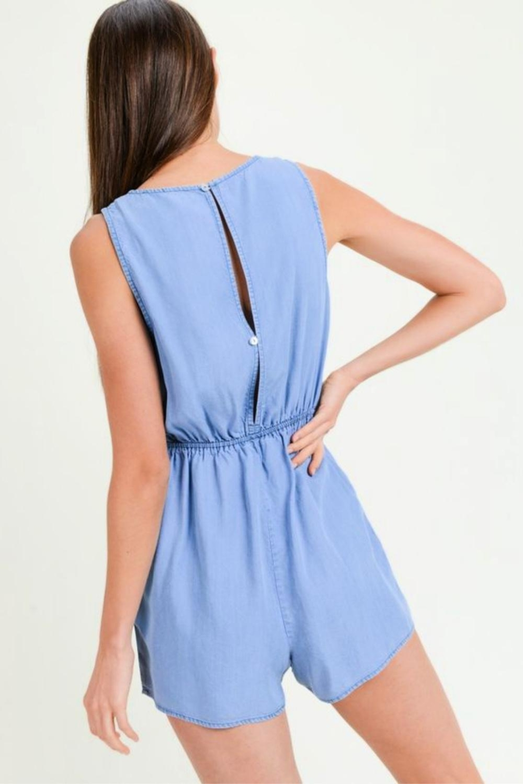Lovetree Tie Front Romper - Side Cropped Image