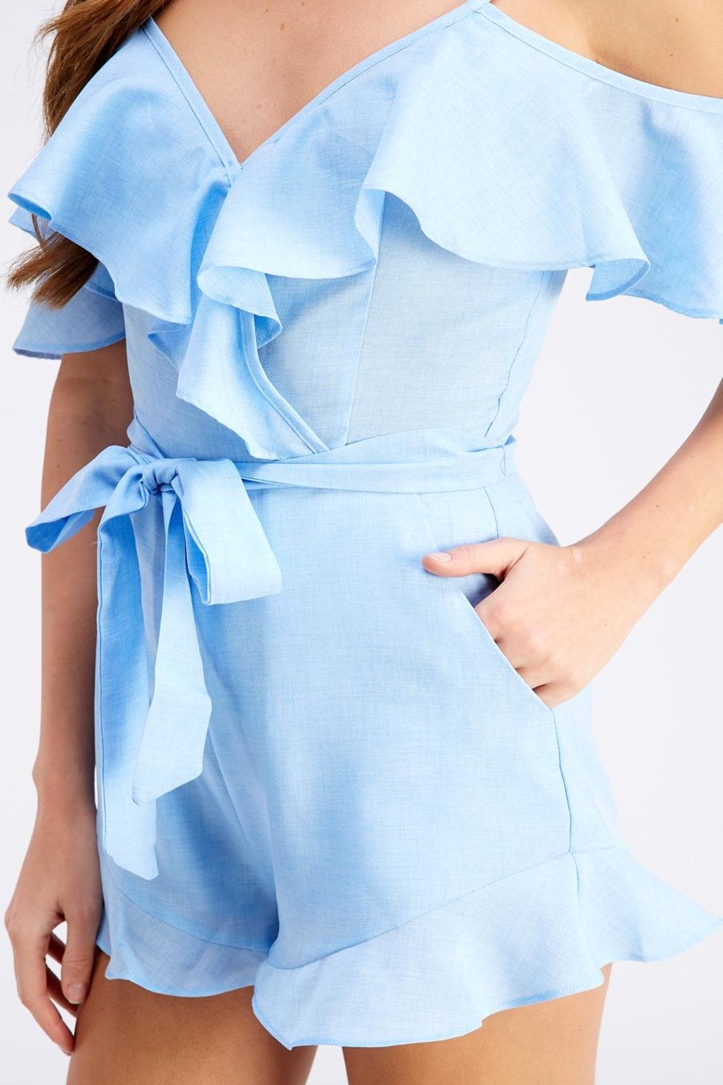 blue blush Tie Front Romper - Back Cropped Image