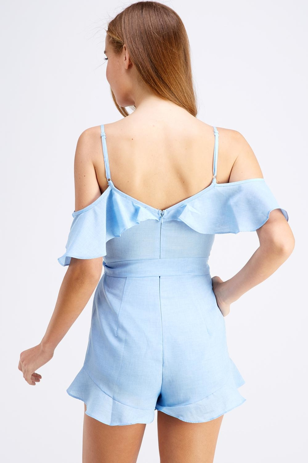 blue blush Tie Front Romper - Side Cropped Image