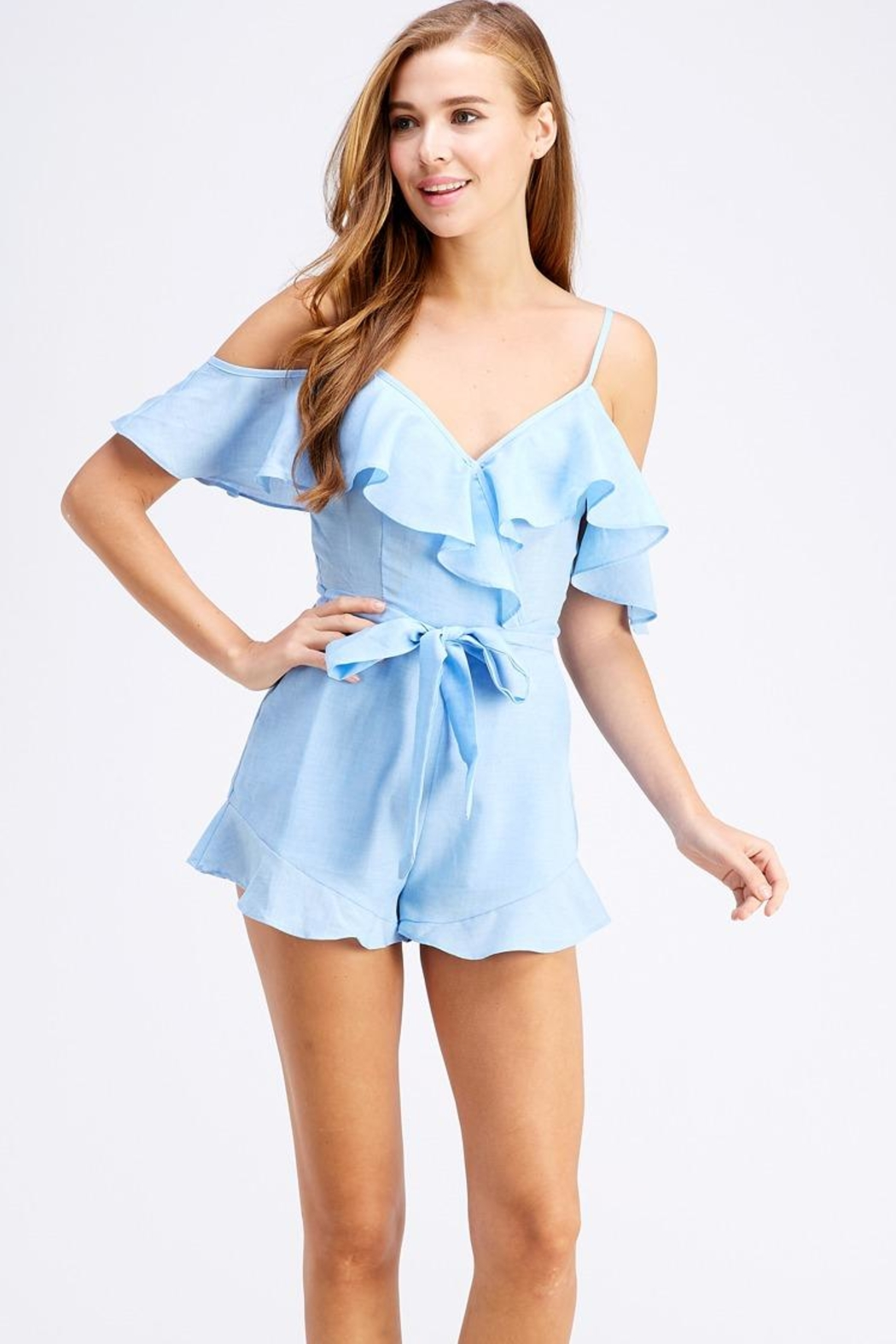 blue blush Tie Front Romper - Front Cropped Image
