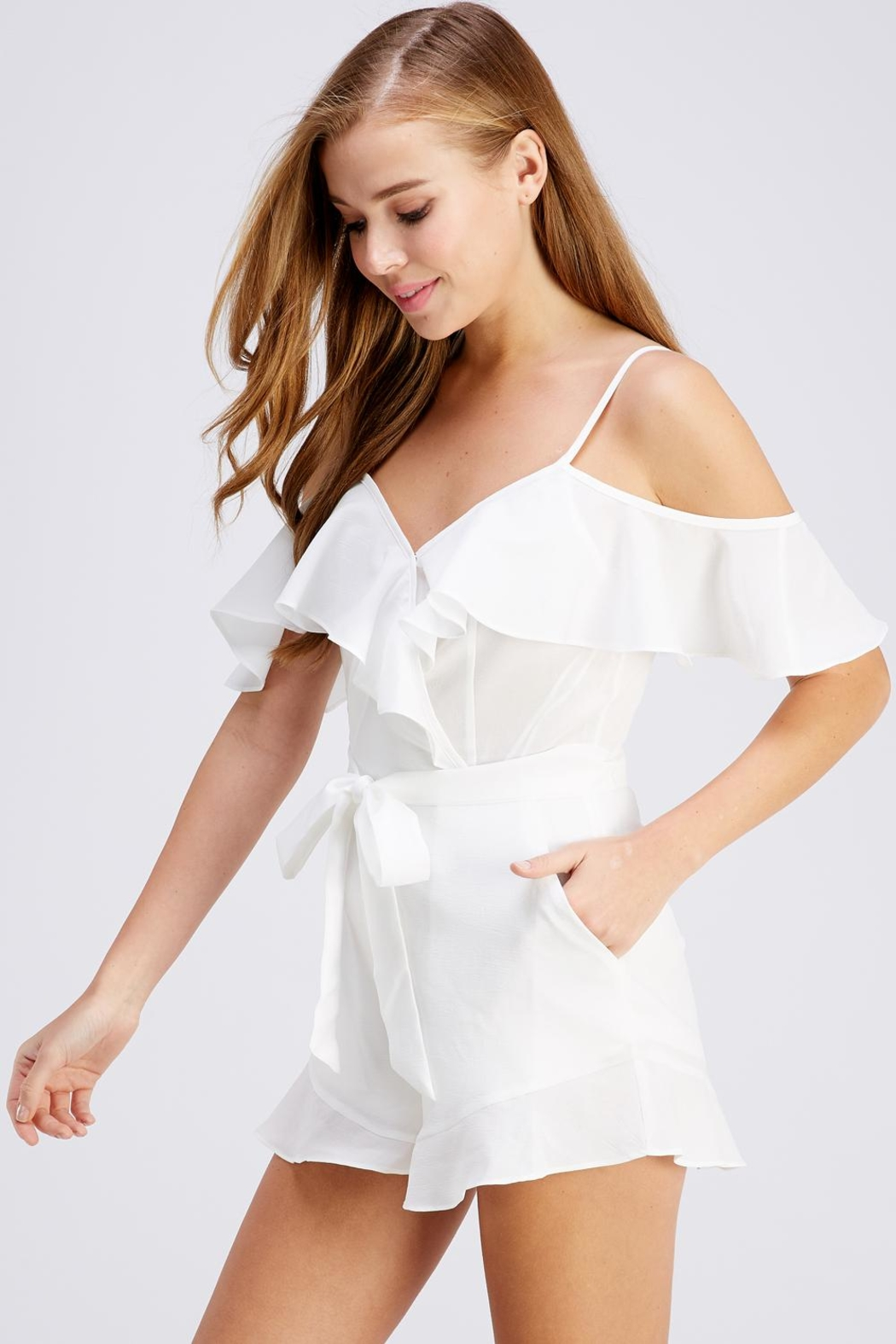 blue blush Tie Front Romper - Front Full Image