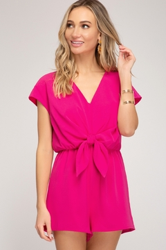 She + Sky Tie Front Romper - Product List Image