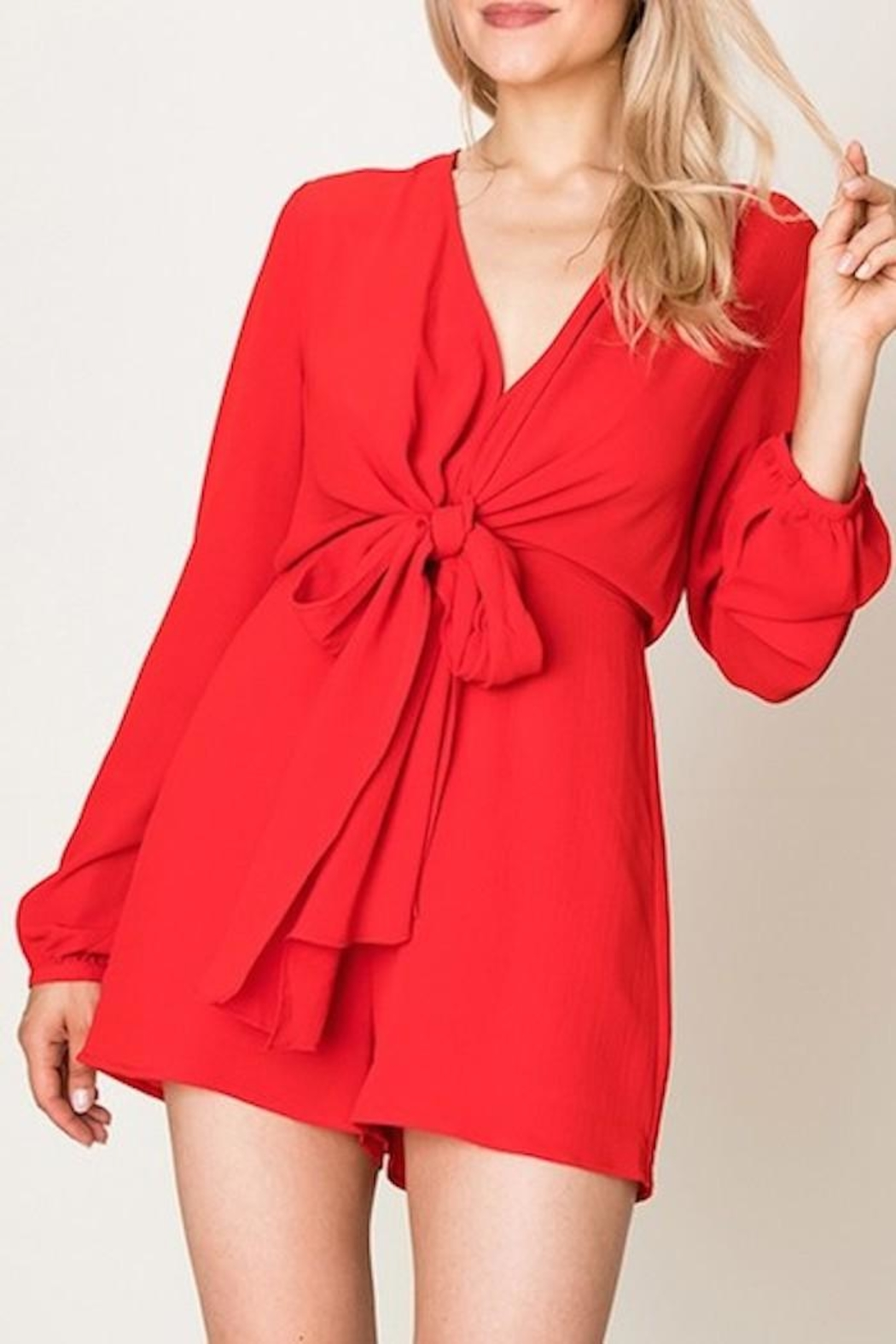 Double Zero Tie Front Romper - Front Cropped Image