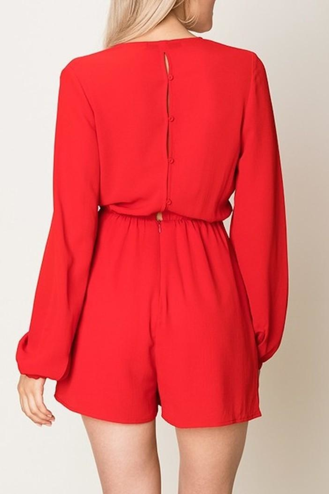 Double Zero Tie Front Romper - Side Cropped Image
