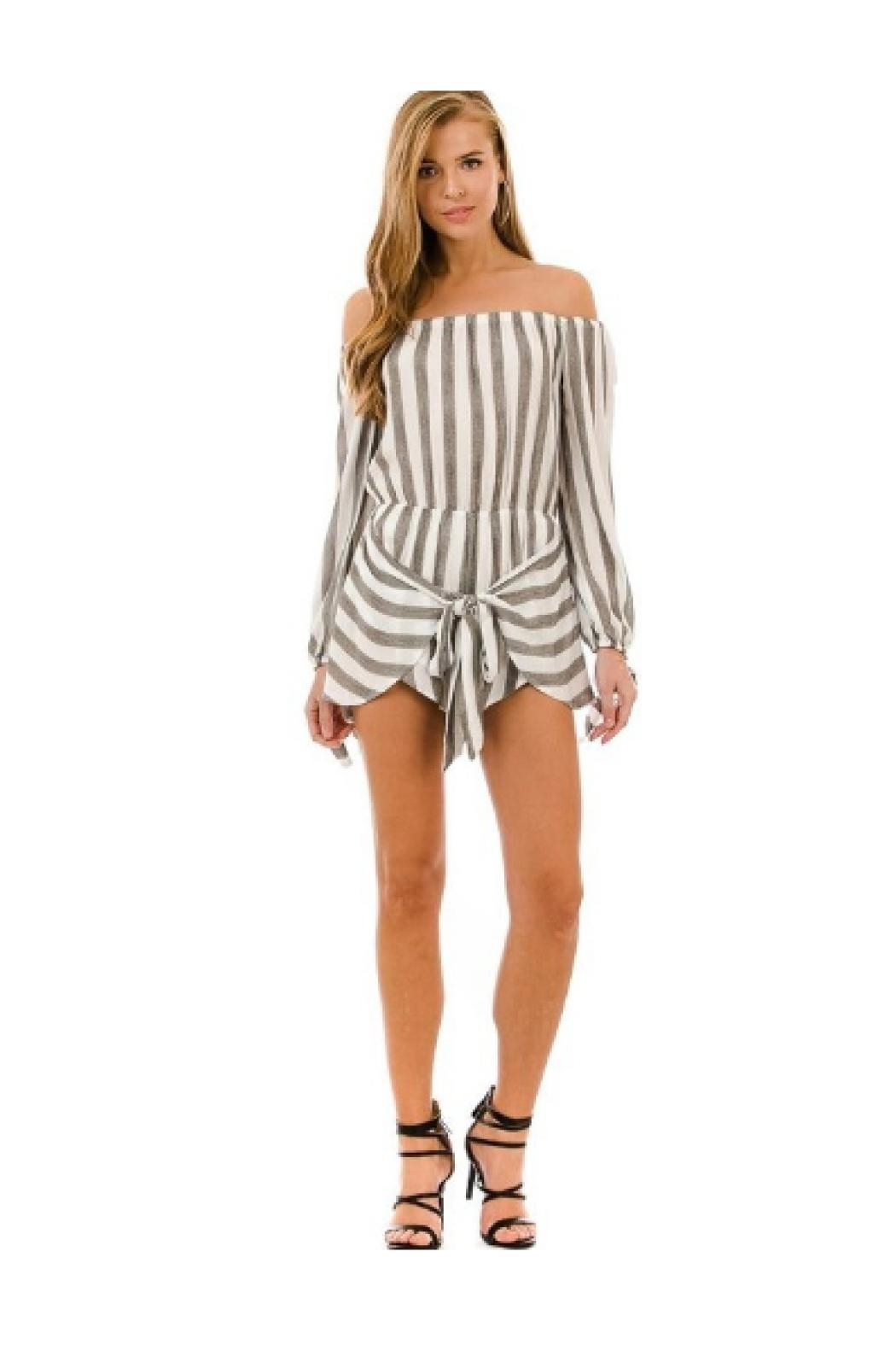 AKAIV Tie Front Romper - Front Full Image