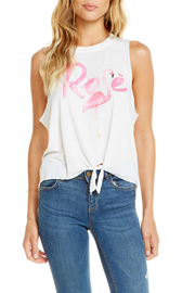 Chaser Tie Front Rose Flamingo Muscle Tank - Product Mini Image