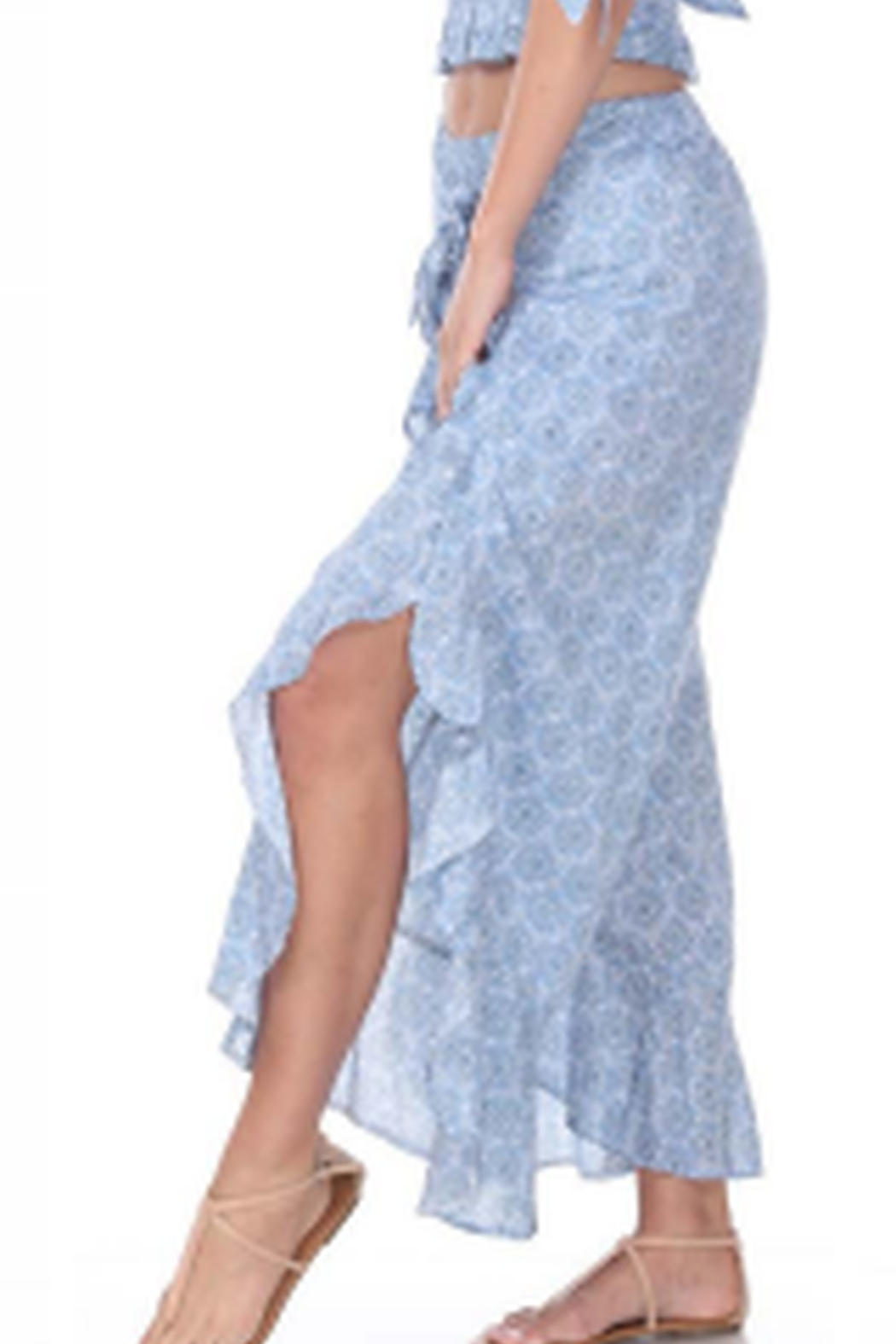Boho Me Tie Front Ruffle Pant - Side Cropped Image