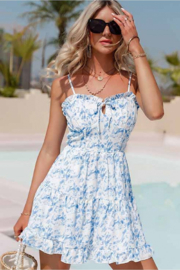 C+D+M Tie Front Ruffled Mini Dress - Front cropped