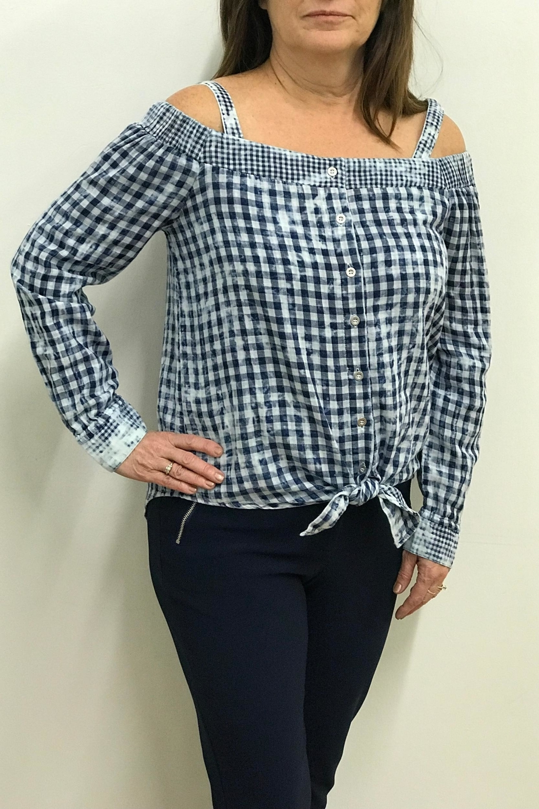 Tribal Jeans Tie Front Shirt - Main Image