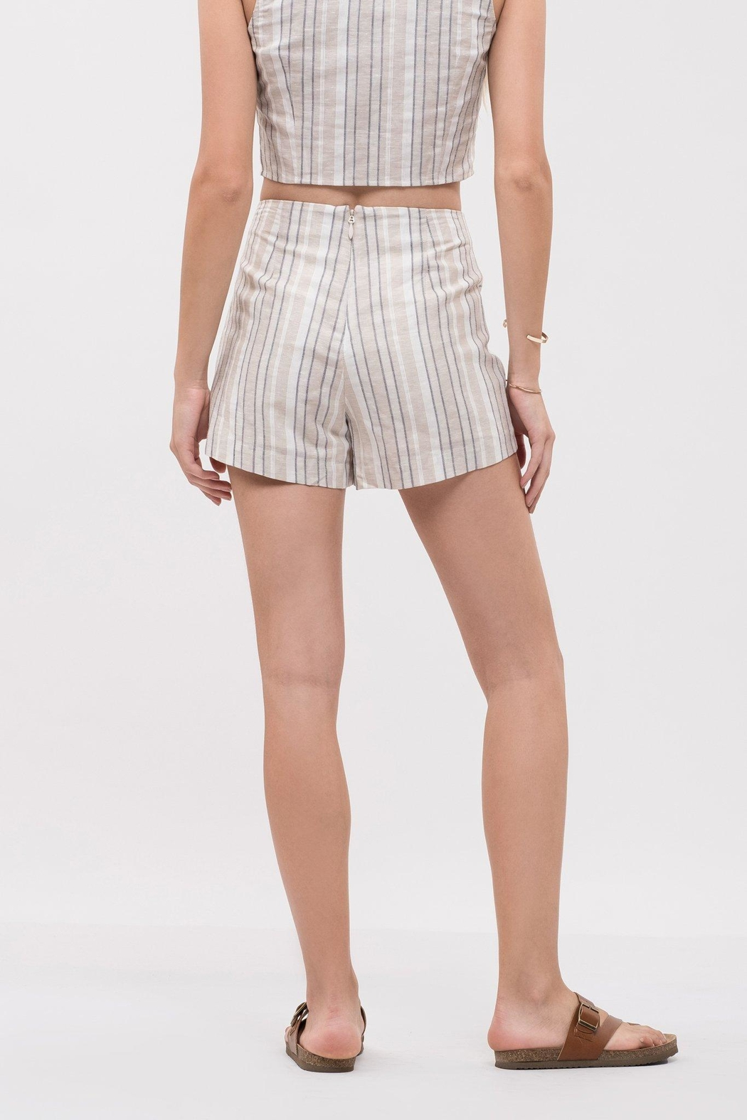 J.O.A. Tie Front Shorts - Front Full Image