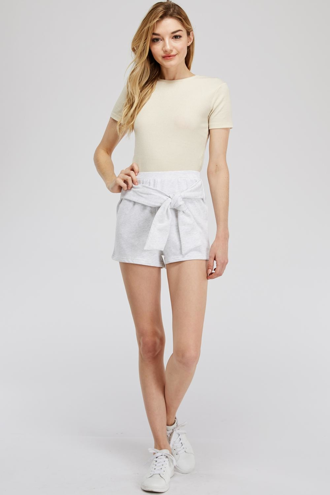 Hey Babe Tie Front Shorts - Front Full Image
