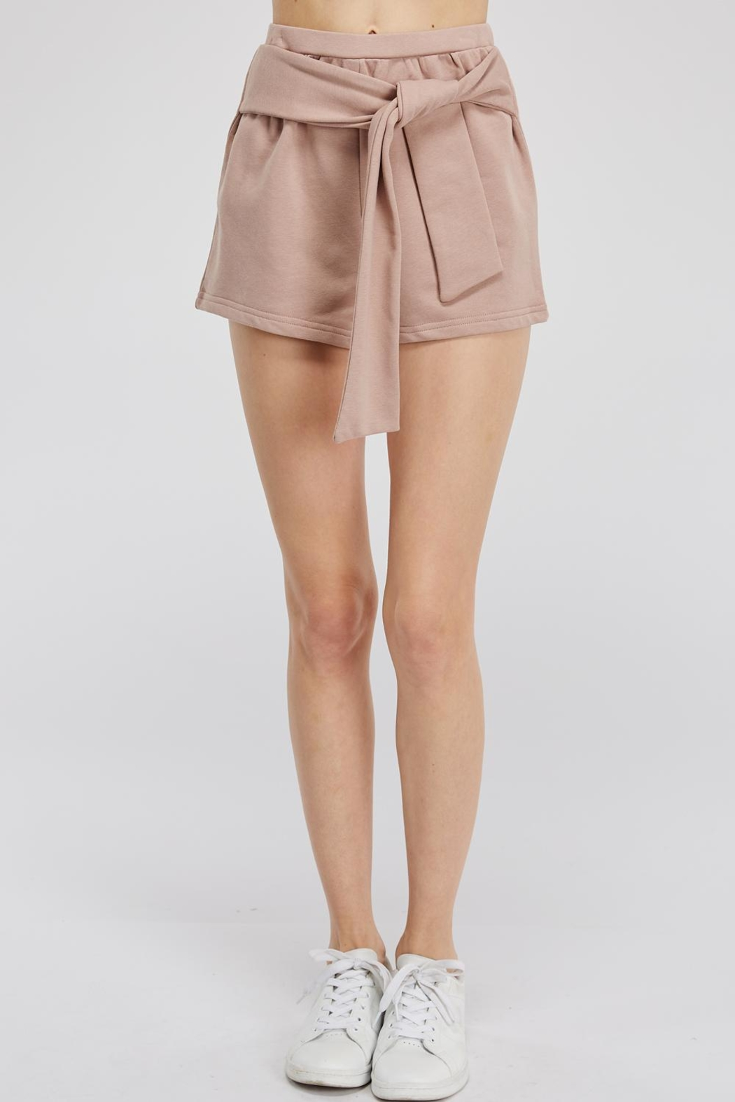 Hey Babe Tie Front Shorts - Front Cropped Image