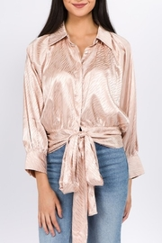 On Twelfth Tie Front Silky Blouse - Product Mini Image